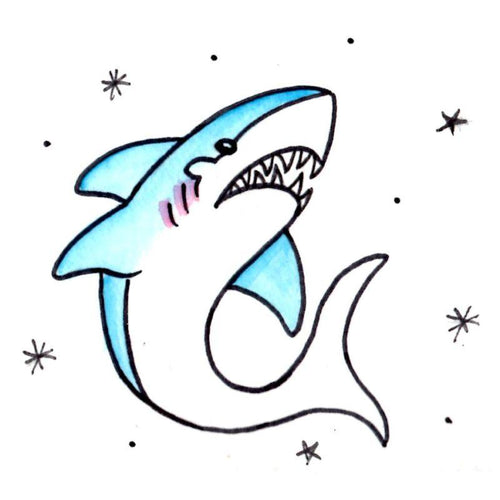 Shark Temporary Tatoo Design. Tags: Traditional, Animals, , , Unisex, Color, New