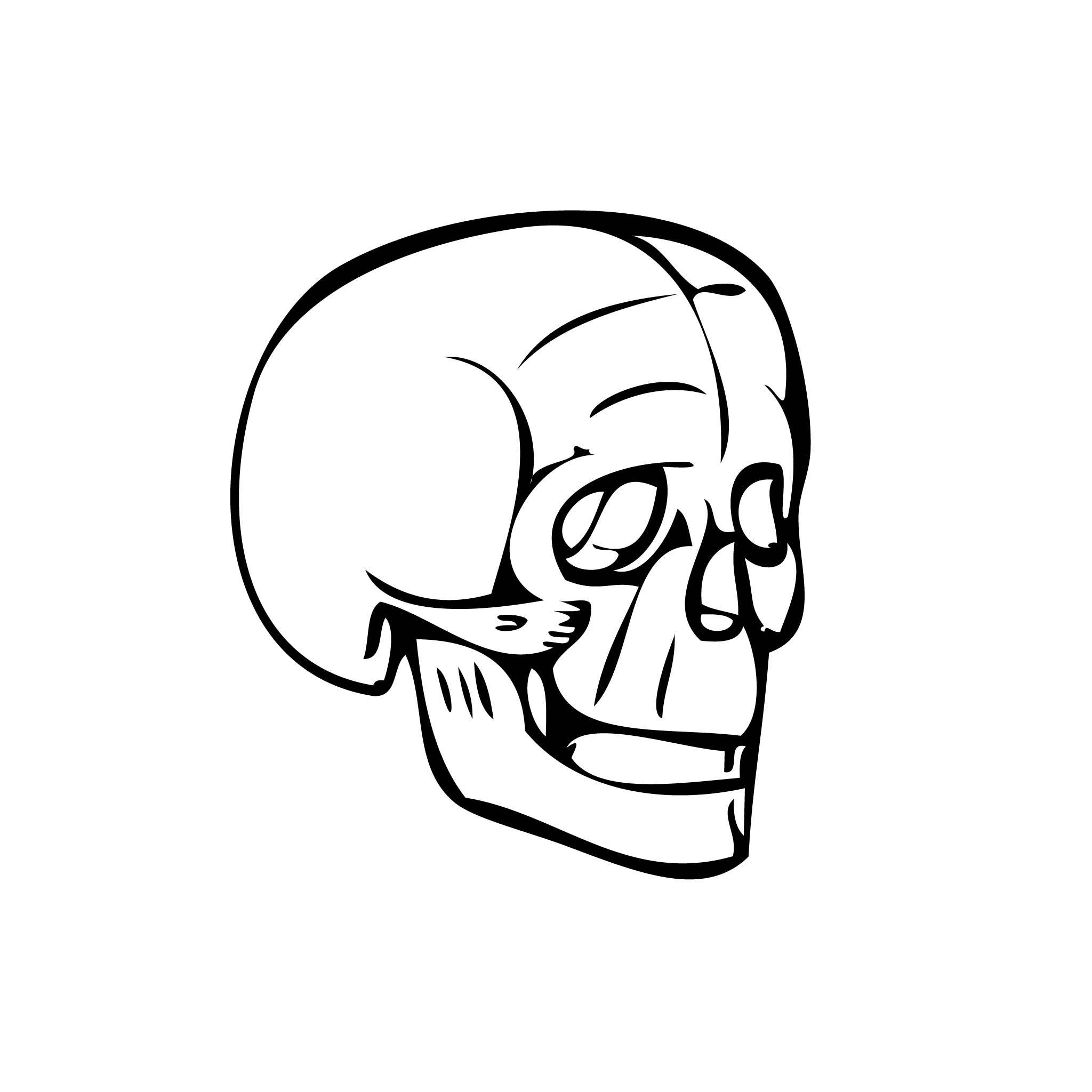 Min Skull Temporary Tatoo Design. Tags: Minimal, Black and White, People,