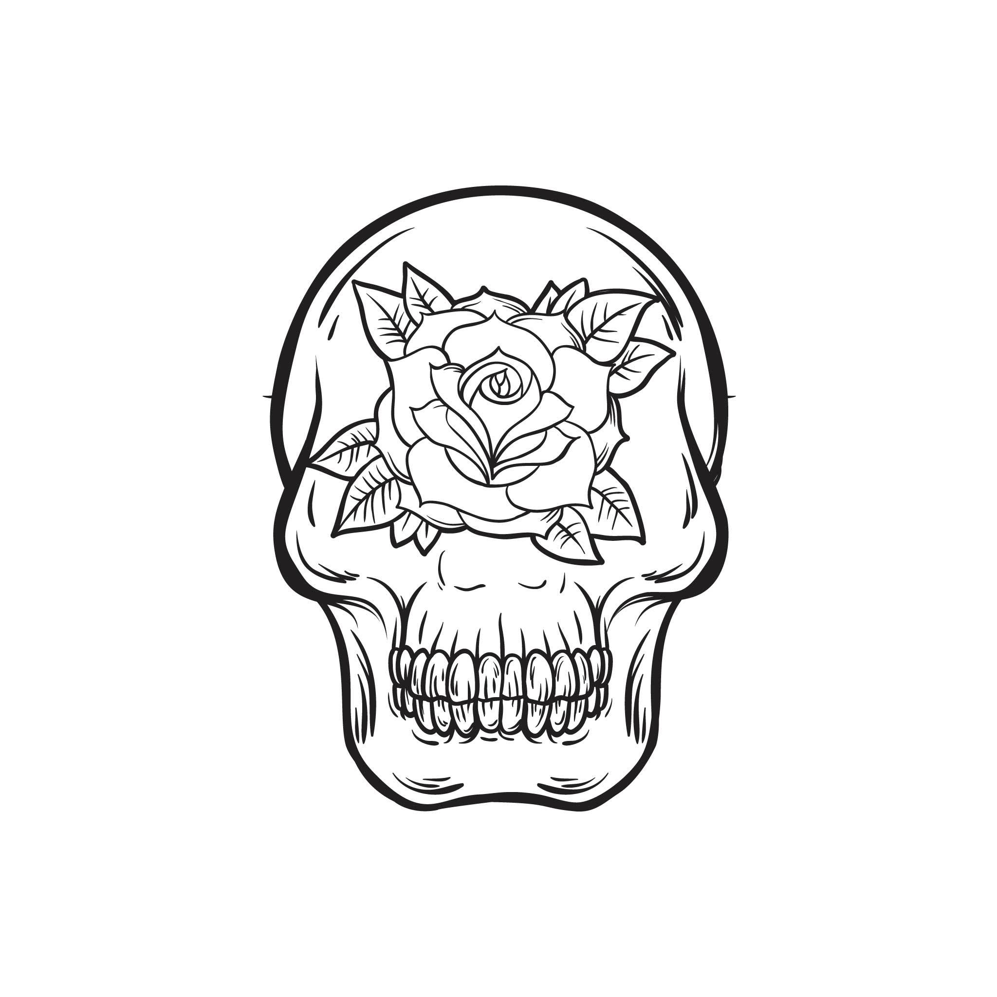 Skull and Rose Design InkDaze_JoseBorromeo