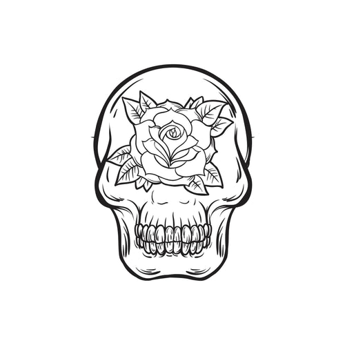Skull and Rose Temporary Tatoo Design. Tags: Minimal, Black and White, People,