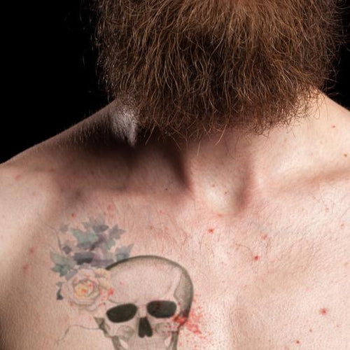 Skull and Flowers Temporary Tattoo