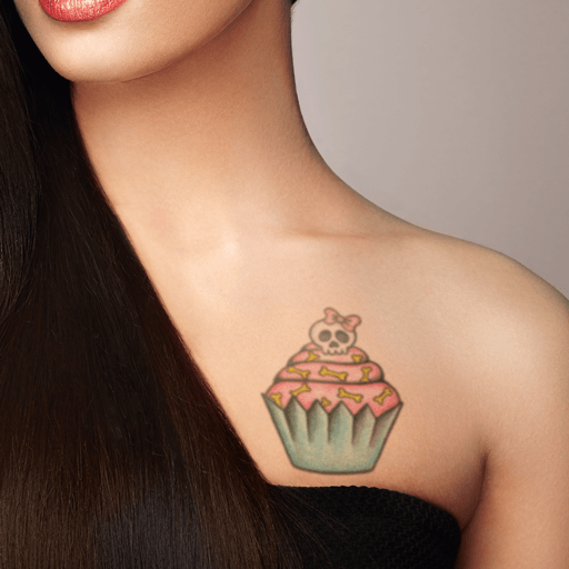 Skull Cupcake Temporary Tattoo