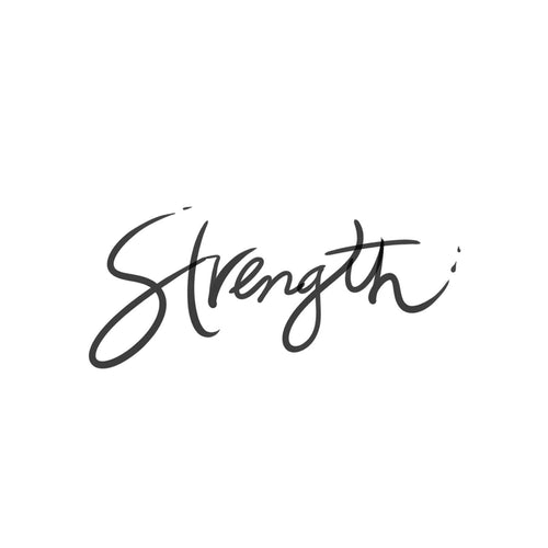 Strength Cursive Temporary Tatoo Design. Tags: Text, Cursive, Black and White,