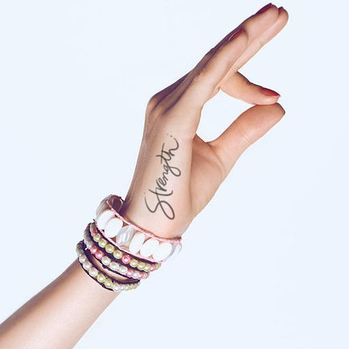 Strength Cursive Temporary Tattoo