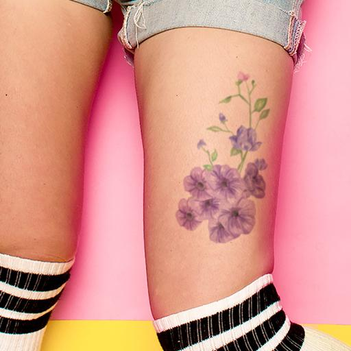 Violet Flower Temporary Tattoo