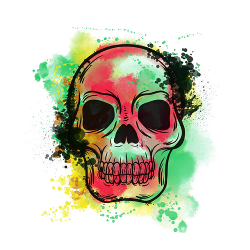 Watercolor Skull Temporary Tatoo Design. Tags: People, Color, Watercolor, Abstract