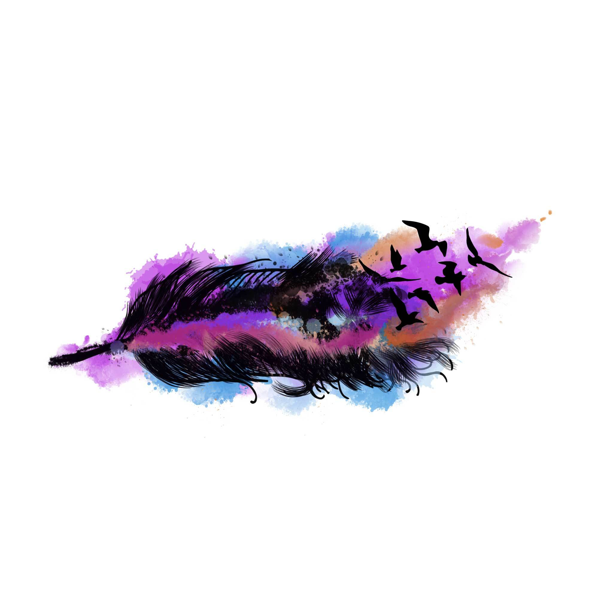 Flocking Birds Temporary Tatoo Design. Tags: Animals, Color, Watercolor, Abstract