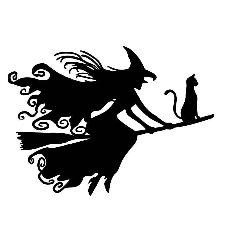 Flying Witch Temporary Tatoo Design. Tags: Minimal, Abstract, Halloween, , Unisex, Black and White, New
