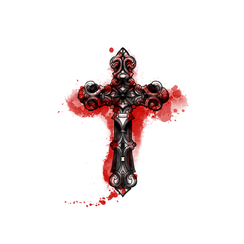 Bloody Cross Temporary Tatoo Design. Tags: Abstract, Watercolor, Halloween, Cross, Unisex, Color, New
