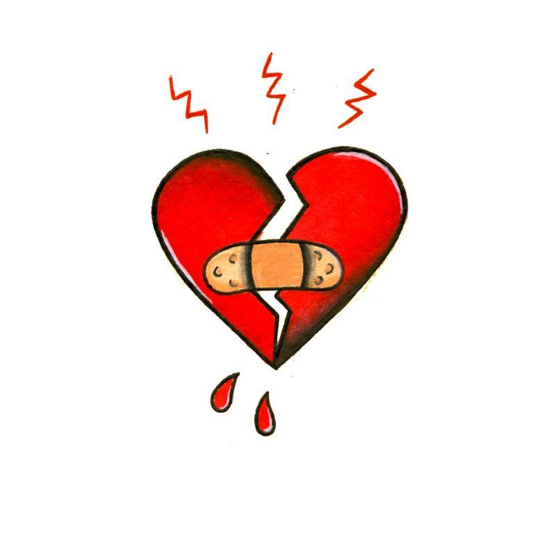 Broken Heart Temporary Tatoo Design. Tags: Traditional, Hearts, , , Unisex, Color, New