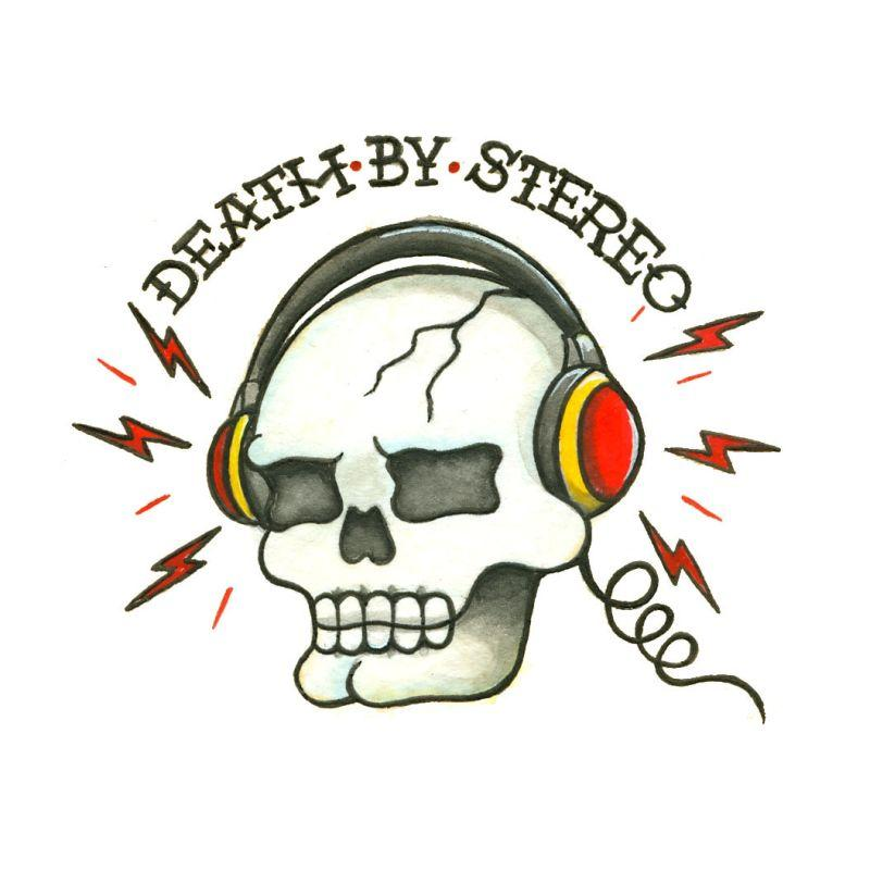 Death by Radio Temporary Tatoo Design. Tags: Traditional, Skulls, Text, , Unisex, Color, New