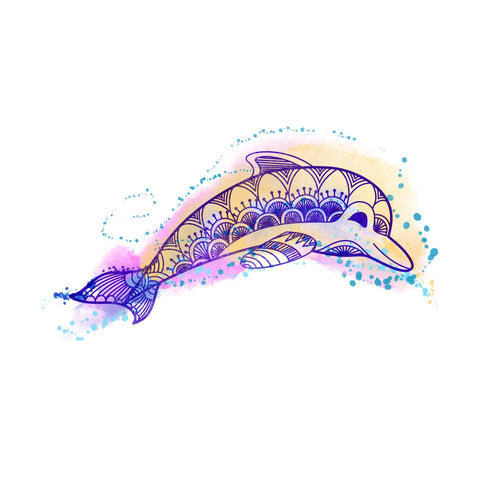 Dolphin Temporary Tatoo Design. Tags: Color, Watercolor, Animals, Abstract