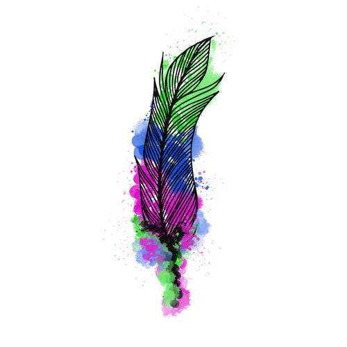 Feather Watercolor Temporary Tatoo Design. Tags: Animals, Color, Watercolor, Abstract