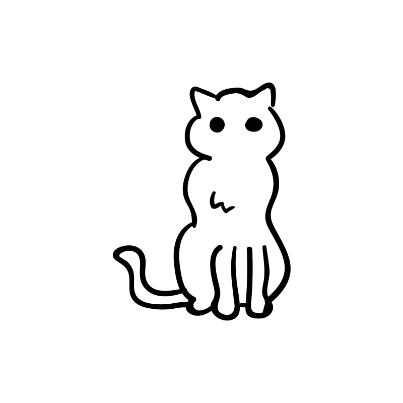 Cat Outline Temporary Tatoo Design. Tags: Minimal, Abstract, Halloween, , Unisex, Black and White, New