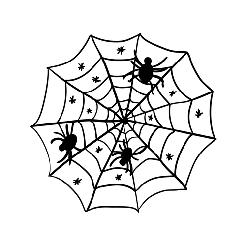 Spiders in Cobweb Temporary Tatoo Design. Tags: Minimal, Abstract, Halloween, , Unisex, Black and White, New