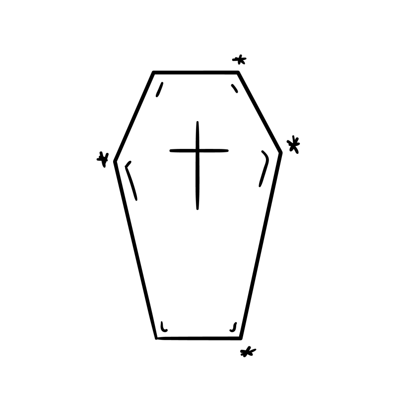 Coffin Cross Temporary Tatoo Design. Tags: Minimal, Abstract, Halloween, , Unisex, Black and White, New