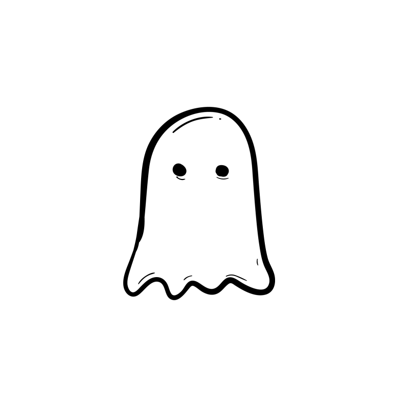 Ghost Temporary Tatoo Design. Tags: Minimal, Abstract, Halloween, , Unisex, Black and White, New