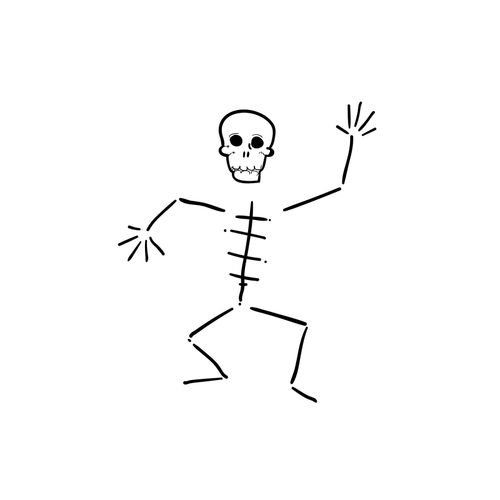 Simple Skeleton Temporary Tatoo Design. Tags: Minimal, Abstract, Halloween, , Unisex, Black and White, New