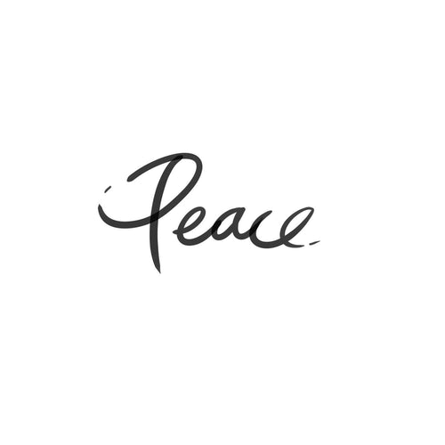 Peace Cursive Temporary Tatoo Design. Tags: Text, Cursive, Black and White,