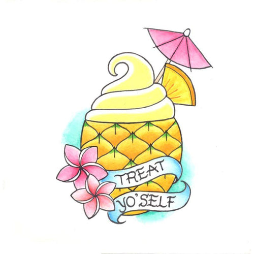 Pineapple Sundae Temporary Tatoo Design. Tags: Traditional, Food, , , Womens, Color, New
