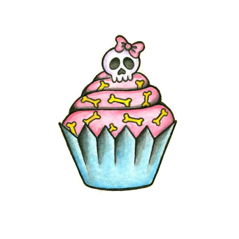 Skull Cupcake Temporary Tatoo Design. Tags: Traditional, Food, , , Womens, Color, New