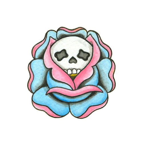 Skull Rose Temporary Tatoo Design. Tags: Traditional, Flowers, Skulls, , Womens, Color, New