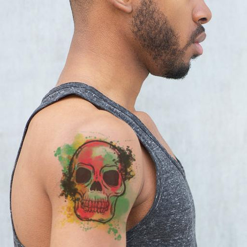 Watercolor Skull Temporary Tattoo