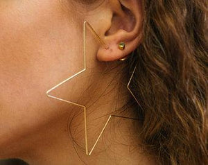 "Oversized Star Earrings ⭐ Gold / 2¾"" TmrwsBig"