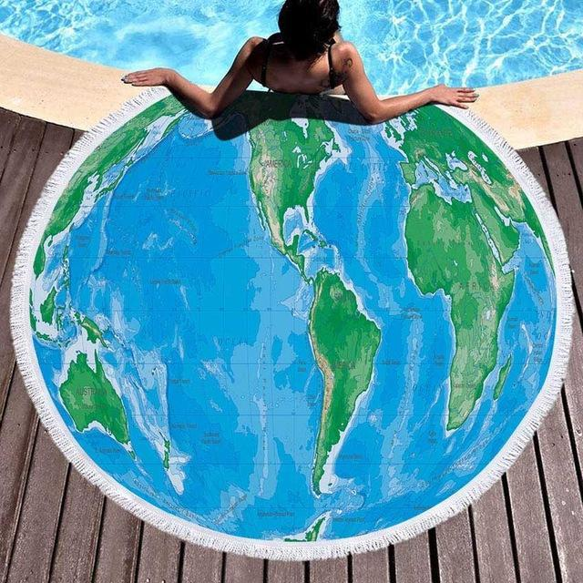 Oversized World Map Beach Towel / Blanket Land Map (Pic 1) TmrwsBig