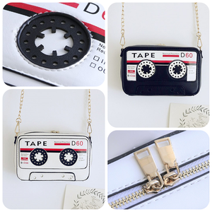 Retro Cassette Tape Women's Crossbody Handbag Purse White TmrwsBig