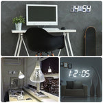 Supersized LED Clock and Digital Display (w/ Remote) White Letters / White Frame TmrwsBig