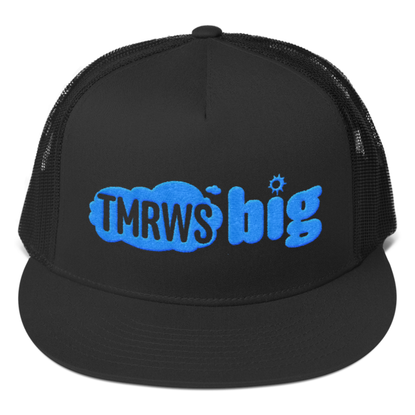 TmrwsBig Official Embroidered Trucker Hat- Black Black/White Stitch Merchandise TmrwsBig