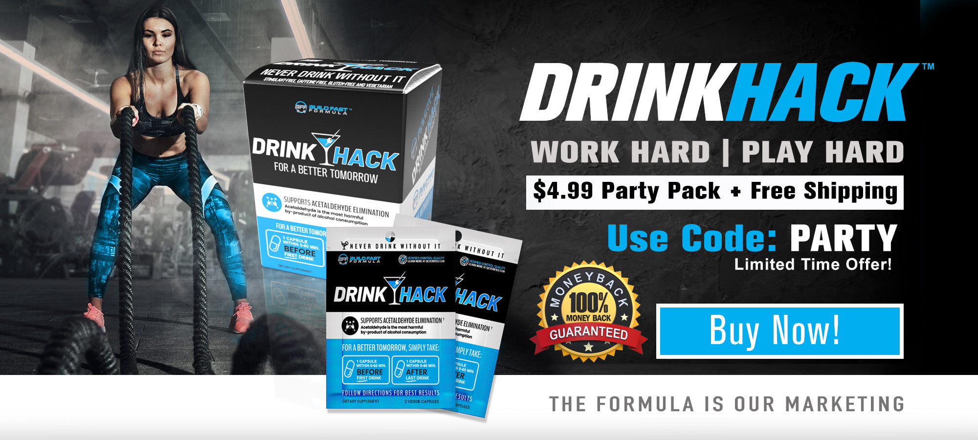 DRINKHACK HANGOVER PREVENTATIVE Build Fast Formula