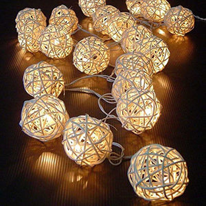 50 Luminaria Led Rattan Balls Fairy String Decorative Lights Battery Operated Christmas Outdoor Patio Garland Wedding Decoration