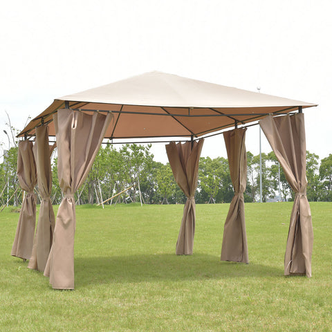 Goplus Outdoor 10 'X13 'Gazebo Canopy Tent Shelter Awning Steel Frame Garden Party  Canopy Tent with Walls Brown OP3118CF