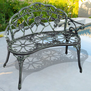 Giantex Patio Garden Bench Chair Vintage Style Porch Cast Aluminum Outdoor Furniture Back Rose Antique Green Yard Bench OP2780