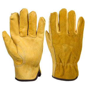 Adeeing Genuine Leather Work Gloves Anti-slip Driver Garden Gloves for Mechanical Repair Vehicle