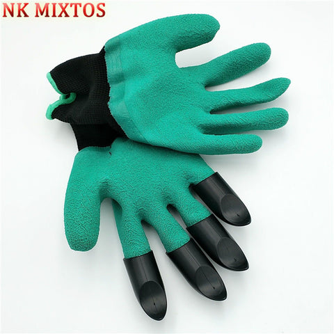 NK MIXTOS Garden Rubber Digging Glove Built In Plastic Claws Waterproof Gardening Planting Practical Tool Parts
