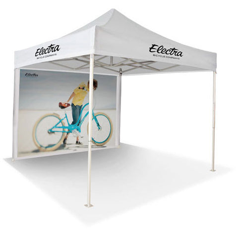 Promotional displays pop up gazebos, 17kgs Stainless steel Frame  folding canopy with back wall,  outdoor advertising awnings