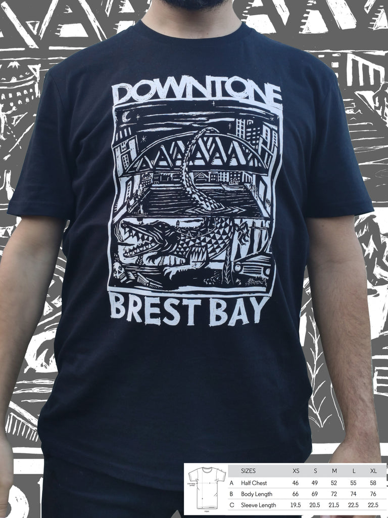 T-shirt bio noir unisexe Downtone Brest Bay