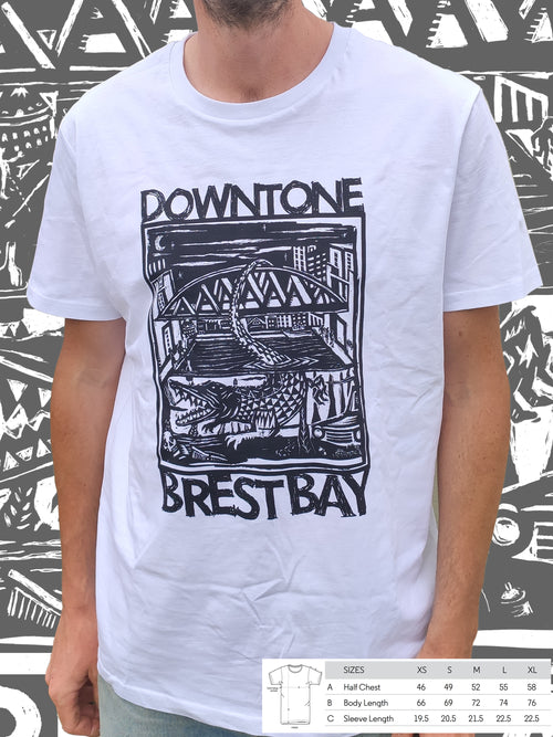 T-shirt bio blanc unisexe Downtone Brest Bay