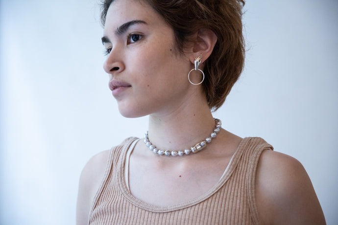 Pearl ball chain choker - Grey