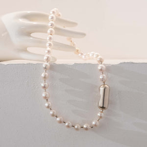 Pearl ball chain choker - White
