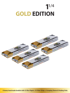 "Rollos Rolling Papers - GOLD Edition 1 1/4"" (74mm)."