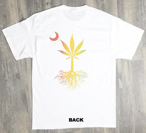 Special Edition WHITE Tee w/ POTMETTO roots on back/ LEGALIZE IT on front. (Rasta Bleed print)