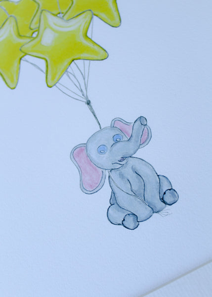 Elephant with Star Balloons