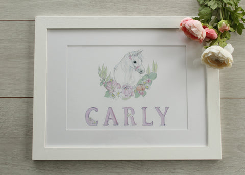 Pretty Floral Unicorn - Personalised