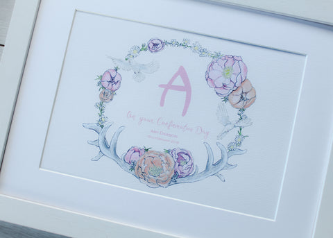 Confirmation/Communion Floral Monogram