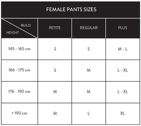 baselayer pants size female