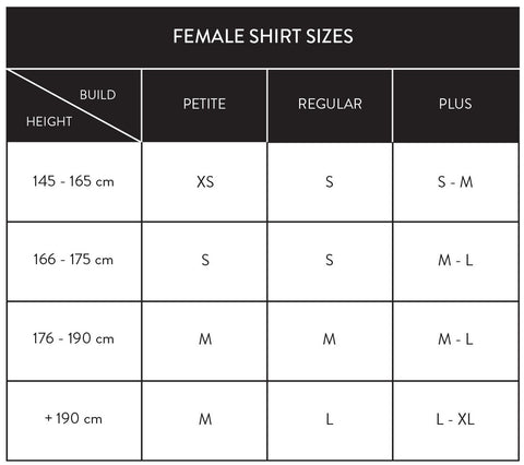 base layer shirts female sizes